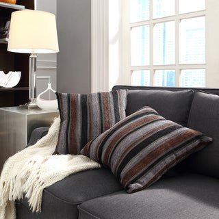 Kayla Coarse Stripe 18-inch Square Throw Pillows (Set of 2)