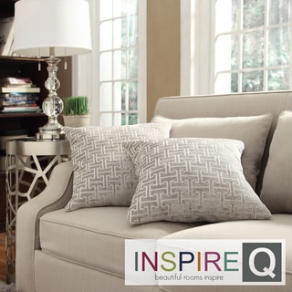 Inspire Q Kayla Grey Bracket Chain 18-inch Square Throw Pillows (Set of 2)
