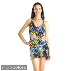 Stanzino Women's Geometric Print Halter Low Neck Romper