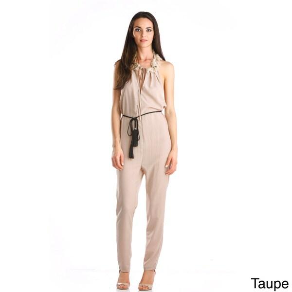 Stanzino Women's Halter Waist Tie Jumpsuit