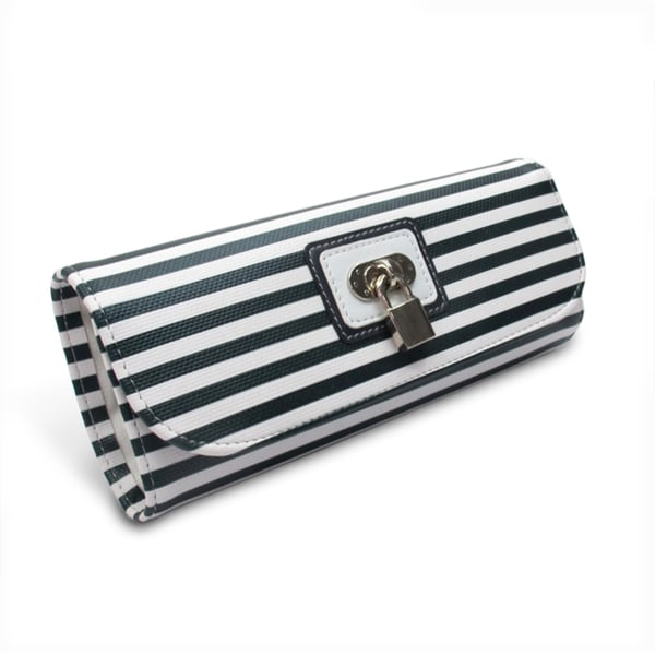 Morelle Navy Striped Jewelry Roll