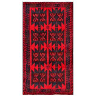 Afghan Hand-knotted Tribal Balouchi Red/ Dark Grey Wool Rug (3'5 x 6'3)