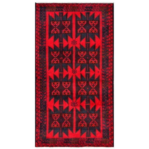 Afghan Hand-knotted Tribal Balouchi Red/ Dark Grey Wool Rug (3'5 x 6'3)
