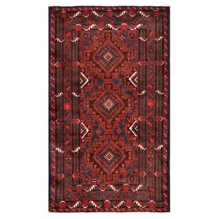 Afghan Hand-knotted Tribal Balouchi Grey/ Red Wool Rug (3'7 x 6'4)