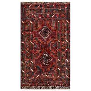 Afghan Hand-knotted Tribal Balouchi Burgundy/ Brown Wool Rug (3'9 x 6'7)