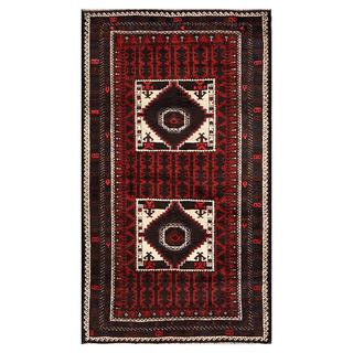 Afghan Hand-knotted Tribal Balouchi Brown/ Red Wool Rug (3'5 x 5'10)