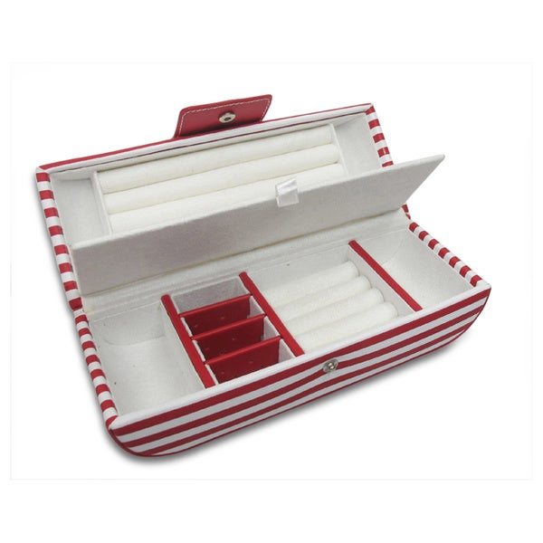 Morelle Red Striped Oblong Jewelry Box
