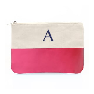 Personalized Bright Pink Color Dipped Canvas Clutch