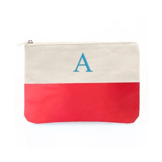 Personalized Coral Color Dipped Canvas Clutch