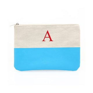 Personalized Aqua Color Dipped Canvas Clutch