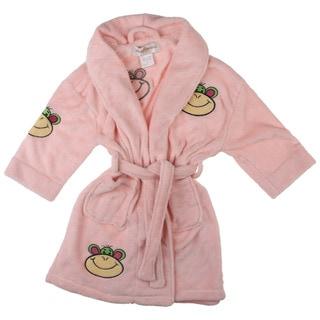 Aegean Apparel Girl's Pink Monkey Face Applique Bathrobe