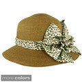 Faddism Women's Summer Ribbon Straw Hat (One Size)