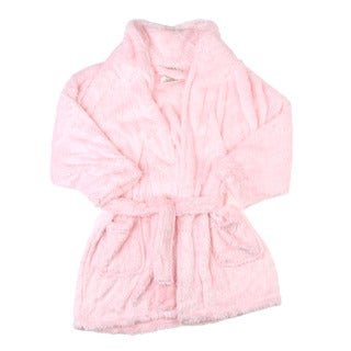 Aegean Apparel Girl's Soft Pink Furry Bathrobe