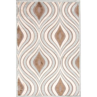 Contemporary Abstract Pattern Blue Rug (5' x 7'6)