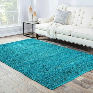 Hand-woven Naturals Solid Pattern Blue Rug (5' x 8')