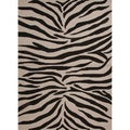 Hand-hooked Indoor/ Outdoor Animal Print Gray/ Black Rug (5' x 7'6)
