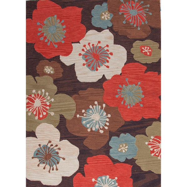 Hand-tufted Transitional Floral Pattern Brown Rug (5' x 7'6)