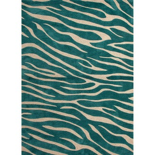 Hand-tufted Contemporary Animal Print Pattern Blue Rug (5' x 7'6)