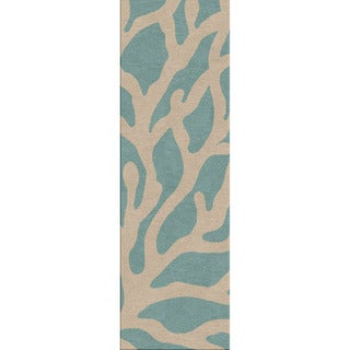 Hand-hooked Indoor/ Outdoor Coastal Pattern Blue Rug (2'6 x 8')