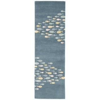 Hand-tufted Transitional Animal Print Pattern Blue Rug (2'6 x 8')