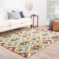 Hand-tufted Transitional Tribal Pattern Blue Rug (3'6 x 5'6)