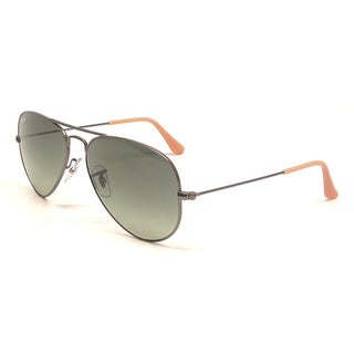Ray-Ban Men's Large Aviator Gunmetal Sunglasses with Gray Lenses