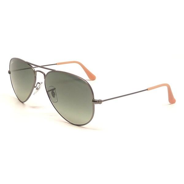 Ray-Ban Men's Large Aviator Gunmetal Sunglasses with Gray Lenses