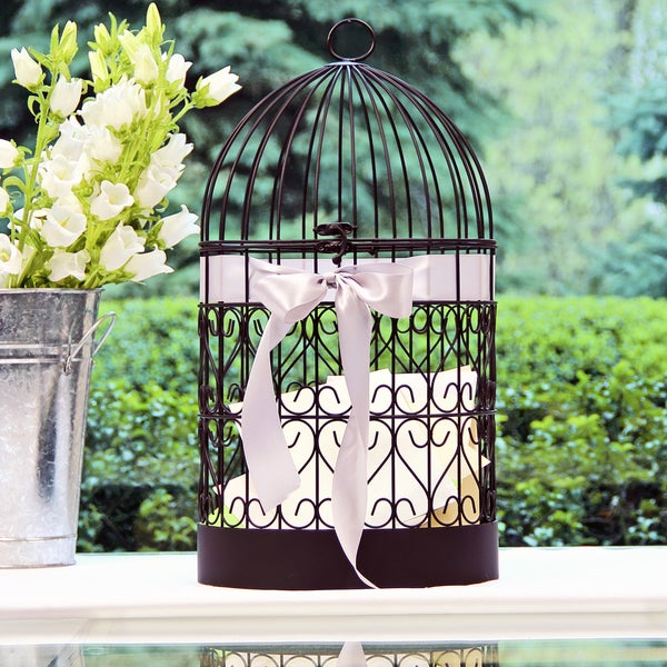 Birdcage Wedding Card Holder: Scrolling Hearts Birdcage Card Holder