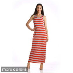 Stanzino Women's Striped Scoop Neck Sleeveless Maxi Dress