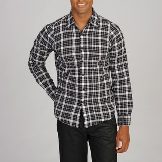 Black Hearts Brigade Men's Black Plaid Woven Shirt