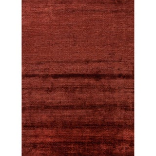 Hand-loomed Solid Pattern Red/ Orange Rug (9' x 13')