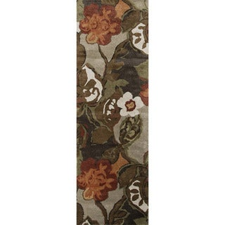 Transitional Floral-pattern Hand-tufted Wool/ Silk Brown Rug (2'6 x 12')