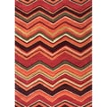 Hand-tufted Contemporary Red/ Orange Geometric-pattern Area Rug (5' x 8')