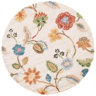 Bloomsbury Handmade Floral White/ Multicolor Area Rug (6' X 6') - 6' x 6' Round