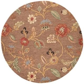 Bloomsbury Handmade Floral Brown/ Multicolor Round Rug - 8' x 8' Round