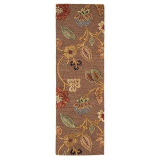 Hand-tufted Transitional Floral-pattern Brown Textured Rug (2'6 x 8')