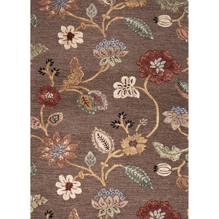 Hand-tufted Transitional Floral Pattern Brown Rug (2' x 3')