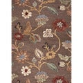 Hand-tufted Transitional Floral-pattern Brown Plush-pile Rug (8' x 11')