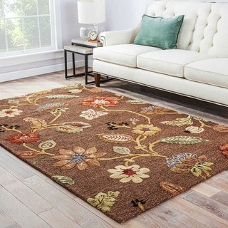 "Bloomsbury Handmade Floral Brown/ Multicolor Area Rug (9'6"" X 13'6"") - 9'6"" x 13'6"""