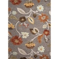 Hand-tufted Transitional Floral-pattern Gray/ Black Wool/ Art Silk Rug (5' x 8')