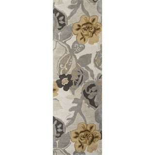 Hand-tufted Transitional Floral Pattern Gray/ Black Rug (2'6 x 8')