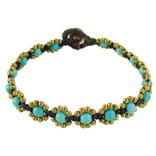 Thai Brass Bell and Turquoise Colored Beads Bracelet