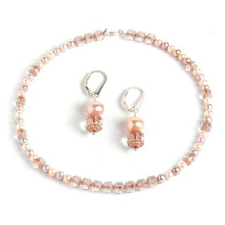 Cathederal Crystal/Pearl Necklace Set