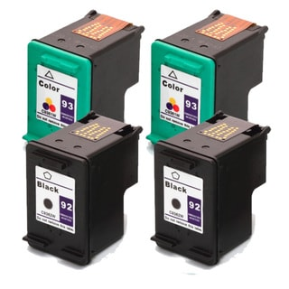 HP 92 (C9362WN) + 93 (C9361WN) Black+Color Compatible Ink Cartridge (Pack of 4)