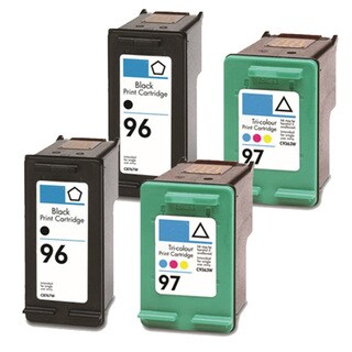 HP 96 (C8767WN) + 97 (C9363WN) Black+Color Compatible Ink Cartridge (Pack of 4)