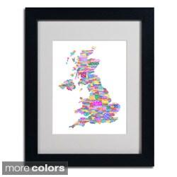 Michael Tompsett 'UK Cities Text Map 3' Framed Matted Art