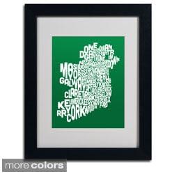 Michael Tompsett 'Forest Ireland Text Map' Framed Matted Art