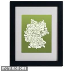 Michael Tompsett 'Olive Germany Region Text Map' Framed Matted Art
