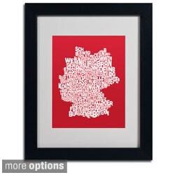 Michael Tompsett 'Red Germany Region Text Map' Framed Matted Art