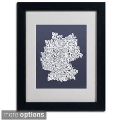 Michael Tompsett 'Slate Germany Region Text Map' Framed Matted Art